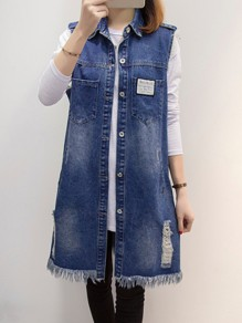 Blue Single Breasted Pockets Tassel Distressed Turndown Collar Sleeveless Going out Long Denim Vest Jacket Waistcoat