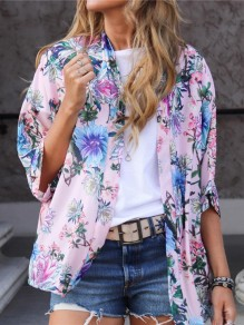 Pink Floral Print Tailored Collar Elbow Sleeve Fashion Outerwear