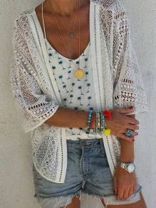 White Patchwork Cut Out V-neck Fashion Outerwear
