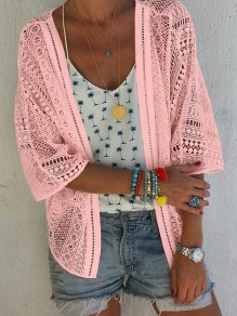 Pink Patchwork Cut Out V-neck Fashion Outerwear