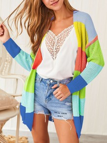 Blue Color Block Rainbow Cute Casual New Fashion Latest Women Cardigans