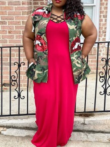 Green Sequin Camouflage Print Pockets Turndown Collar V-neck Sleeveless Plus Size Vest Long Jacket