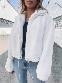 White Zipper Pockets Drawstring Turndown Collar Long Sleeve Teddy Coat