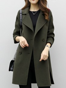 Green Patchwork Buttons V-neck Long Sleeve Fashion Outerwears