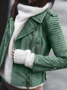 Green Pockets Zipper Turndown Collar Leather Fashion Suede Jacket Biker Jacket