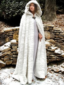 White Faux Fur Hooded Sleeveless Oversize Cape Coat