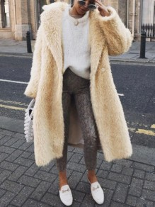 Beige Faux Fur Buttons Turndown Collar Long Sleeve Oversize Coat
