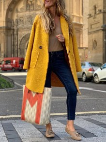 Mustard Yellow Pockets Buttons Turndown Collar Long Sleeve Fashion Wool Coat