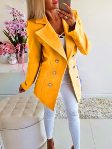 Yellow Double Breasted Pockets Turndown Collar Long Sleeve Blazer Wool Coat