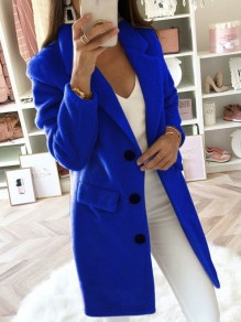 Blue Pockets Buttons Turndown Collar Long Sleeve Elegant Wool Coat