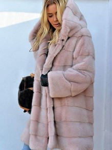 Pink Faux Fur Pocket Hooded Long Sleeve Elegant Coat