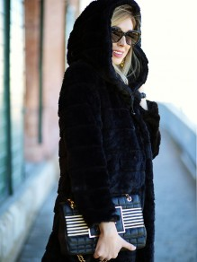Black Faux Fur Pocket Hooded Long Sleeve Elegant Coat