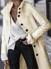 White Buttons Turndown Collar Long Sleeve Elegant Wool Coat