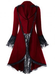 Red Patchwork Lace Turndown Collar Flare Sleeve Elegant Halloween Cosplay Coat