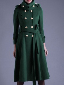 Green Button Sashe Turndown Collar Long Sleeve Elegant Wool Coat