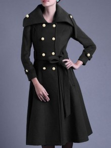 Black Button Sashe Turndown Collar Long Sleeve Elegant Wool Coat