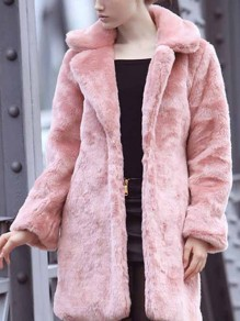 Pink Pocket Turndown Collar Long Sleeve Warm Elegant Coat