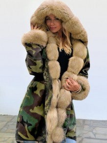 Green Camouflage Pocket Khaki Fur Hooded Drawstring Long Sleeve Fashion Outerwear