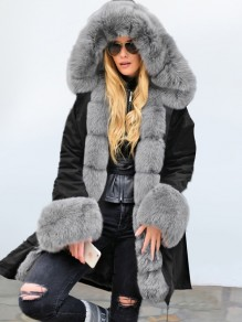 Black Pocket Grey Fur Hooded Drawstring Long Sleeve Fashion Outerwear