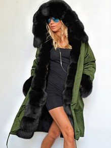 Green Pocket Grey Fur Hooded Drawstring Long Sleeve Fashion Outerwear