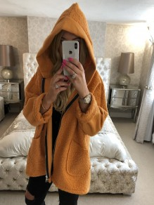 Orange Pockets Zipper Hooded Long Sleeve Fluffy Warm Coat Outerwear