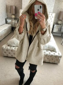 White Pockets Zipper Hooded Long Sleeve Fluffy Warm Coat Outerwear