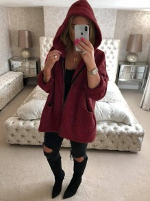 Burgundy Pockets Zipper Hooded Long Sleeve Fluffy Warm Coat Outerwear