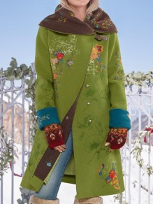 Green Floral Pockets Hooded Long Sleeve Fashion Oversize Wool Coat