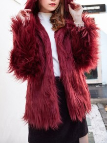 Burgundy Faux Fur Hooded Long Sleeve Fashion Oversize Coat
