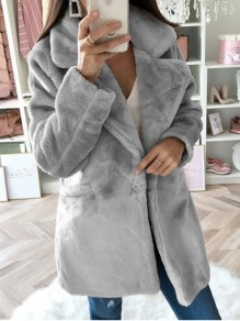 Grey Faux Fur Pocket Turndown Collar Long Sleeve Elegant Coat Outerwear