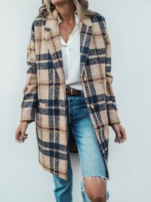 Khaki Plaid Button Turndown Collar Long Sleeve Elegant Wool Coat