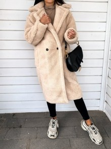 Beige Button Turndown Collar Long Sleeve Oversize Teddy Coat
