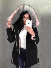 Black Pockets Pink Fur Drawstring Hooded Long Sleeve Fashion Padded Coats