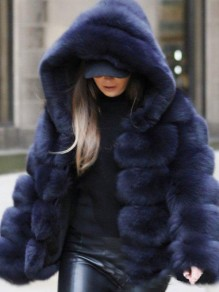 Navy Blue Faux Fur Hooded Long Sleeve Fashion Oversize Coat