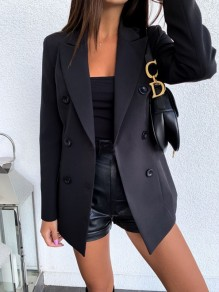 Black Button Turndown Collar Long Sleeve Elegant Blazer