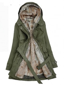 Army Green Pocket Belt Lamb Woo Long Sleeve Fashion Hooded Padded Coats