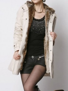 Beige Pocket Belt Lamb Woo Long Sleeve Fashion Hooded Padded Coats