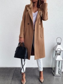 Khaki Button Pocket Turndown Collar Long Sleeve Elegant Wool Coat