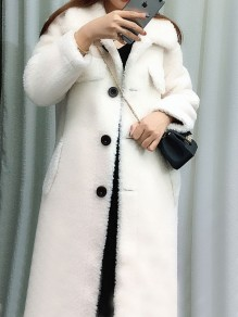 White Pocket Button Turndown Collar Long Sleeve Oversize Teddy Coat