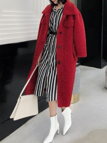 Red Pocket Button Turndown Collar Long Sleeve Oversize Teddy Coat