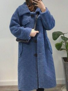 Blue Pocket Button Turndown Collar Long Sleeve Oversize Teddy Coat