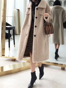 Light Camel Pocket Button Turndown Collar Long Sleeve Oversize Teddy Coat