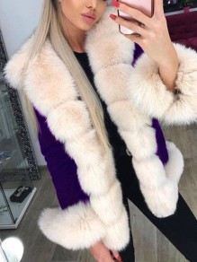 Purple Patchwork Faux Fur Fluffy Hooded Long Sleeve Thick Parka Coat Outerwear