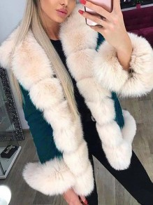 Blue Patchwork Faux Fur Fluffy Hooded Long Sleeve Thick Parka Coat Outerwear