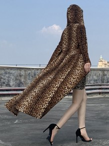 Yellow Leopard Print Hooded Long Sleeve Elegant Trench Coats