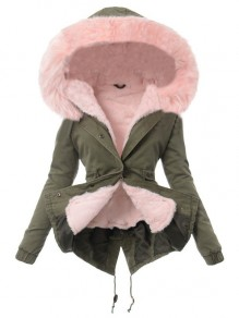 Pink Pocket Fur Hooded Long Sleeve Fashion Padded Coats