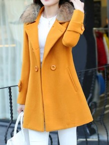 Yellow Button Fur Turndown Collar Long Sleeve Elegant Wool Coat