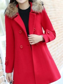 Red Button Fur Turndown Collar Long Sleeve Elegant Wool Coat