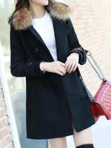 Black Button Fur Turndown Collar Long Sleeve Elegant Wool Coat