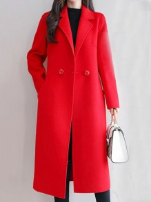 Red Button Pocket Turndown Collar Long Sleeve Elegant Wool Coat